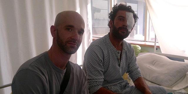 Matt Schrier, left, in Azaz, Syria.