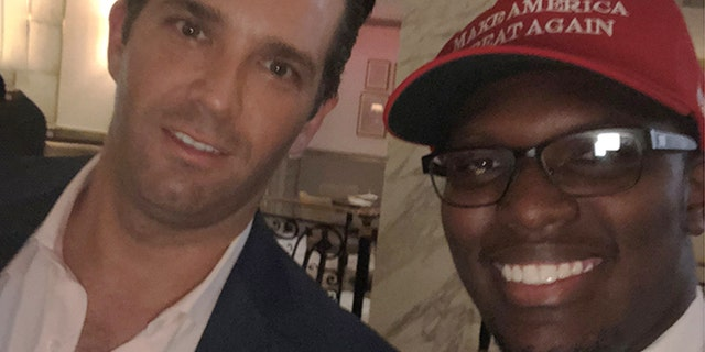 "20-year-old Matthew Handy of Kentucky in a recent photo with President Trump's son, Donald Trump Jr. Handy, an intern for a Republican lawmaker, says an Uber driver refused to give him and three others a ride together in Washington this week because two of them were carrying pro-Trump ""Make America Great Again"" hats."