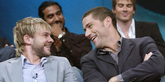 "Dominic Monaghan and Matthew Fox during a ""Lost"" press tour in 2004."