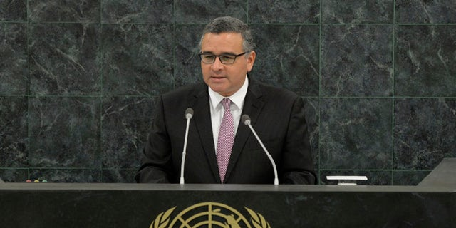 NEW YORK, NY - SEPTEMBER 25:  El Salvadorian President Carlos Mauricio Funes Cartagena speaks at the 68th United Nations General Assembly on September 25, 2013 in New York City. Over 120 prime ministers, presidents and monarchs are gathering this week for the annual meeting at the temporary General Assembly Hall at the U.N. headquarters while the General Assembly Building is closed for renovations.  (Photo by Andrew Burton/Getty Images)