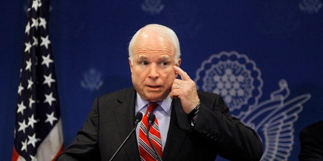 FILE: Aug. 6, 2013: GOP Arizona Sen.John McCain talks at a press conference in Cairo, Egypt.