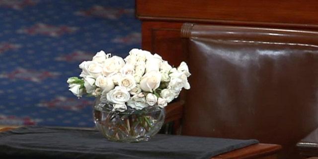 Late Sen. John McCain's desk on the Senate floor.