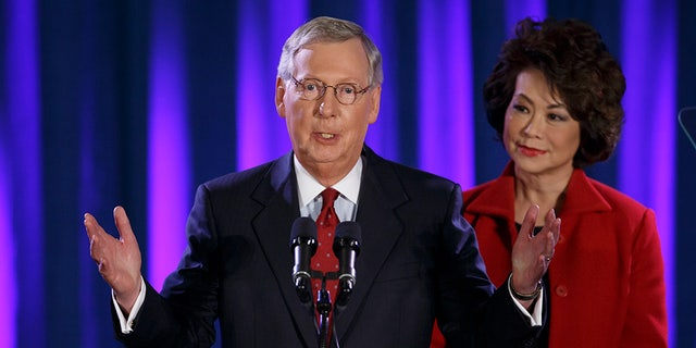 Senate Majority Leader Mitch McConnell, R-Ky., was heckled last month outside an event at Georgetown University with his wife – Transportation Secretary Elaine Chao.