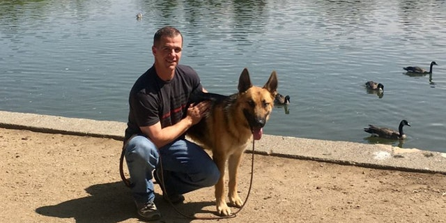 Draper City firefighter Patrick adopted a German shepherd named Mendo who he and his fellow coworkers rescued during the Mendocino Complex fire.