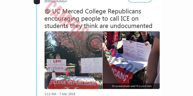 College Republicans at University of California, Merced said they were harassed for their display.