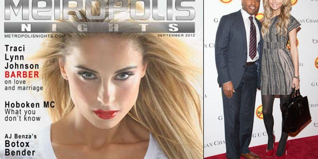 Traci Lynn Johnson Barber on the cover of the Sept. issue of Metropolis Nights Magazine, and, at right, with husband Tiki Barber.
