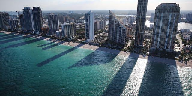 Condo buildings line the beach April 5, 2016 in Sunny Isle, Florida.