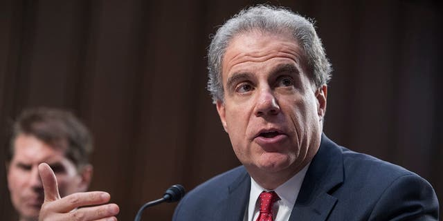 "Michael Horowitz, inspector general of the Justice Department, testifies before a Senate Judiciary Committee in Hart Building titled ""Oversight of the Foreign Agents Registration Act and Attempts to Influence U.S. Elections: Lessons Learned from Current and Prior Administrations,"" on July 26, 2017.  (Photo By Tom Williams/CQ Roll Call) (CQ Roll Call via AP Images)"