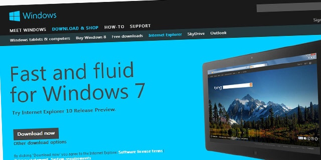 Nov. 13, 2012: A screenshot of Microsoft's website advertises Internet Explorer 10 for Windows 7, a new release of the browser enhanced to accomodate touch-screen computers and devices.