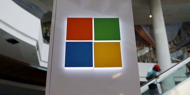 File photo - a Microsoft logo is seen at a pop-up site.