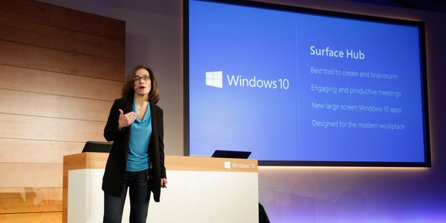 Hayete Gallot, senior director, Microsoft Devices, on Wednesday, Jan. 21, 2015, unveils Surface Hub, a complete device built to empower people to be more productive together.