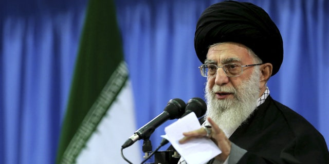 November 27, 2014: In this photo released by an official website of the office of the Iranian supreme leader, Supreme Leader Ayatollah Ali Khamenei speaks in a gathering of senior officials of Basij paramilitary force in Tehran. (AP Photo/Office of the Iranian Supreme Leader)