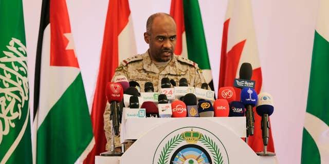 April 14, 2015: Saudi military spokesman Ahmed Asiri briefs journalists on the Saudi-led coalition's strikes on Houthi rebels in Yemen, during a press conference, in Riyadh, Saudi Arabia.