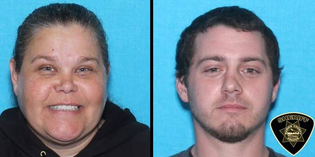 """This undated law enforcement booking combination photo provided by the Marion County, Ore., Sheriff's Office shows Bobbi Ann Finley of Dallas, Ore., 39, and her husband Zackerie House, 27. Authorities are searching for the pair, saying Finley and her husband have been writing fraudulent checks in three states. Finley, dubbed the """"Military Mistress,"""" got her nickname in 2010 when national news outlets spotlighted allegations she went from one military base to the next, marrying service members to gain access to their bank accounts. In all, she married 14 U.S. service members. (AP Photo/Marion County Sheriff's Office)"""