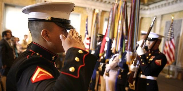 U.S. Marine Corps Lance Cpl. Nicolas Alvarado Lopez during a naturalization ceremony July 3, 2013 in Washington, DC.