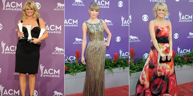 Miranda Lambert, left, Taylor Swift, center and Carrie Underwood attend the 2013 Academy of Country Music Awards.
