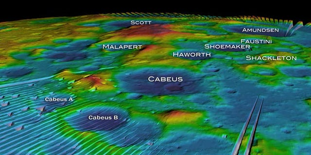 This mosaic, taken from a NASA animation, shows altitude measurements of the moon's south pole from the LOLA instrument aboard the Lunar Reconnaissance Orbiter. Some craters, including Cabeus A that will be hit by the LCROSS probe, are named in this view released Sept. 17, 2009.