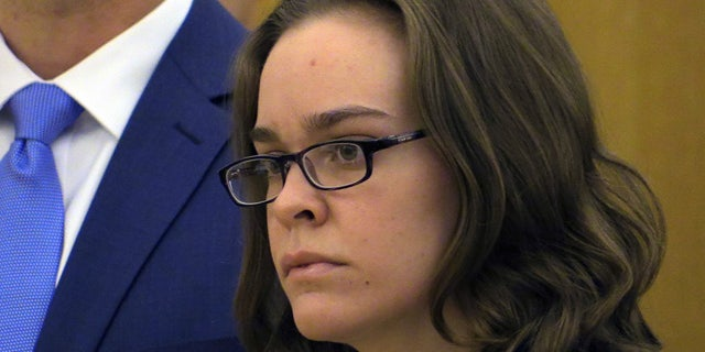 April 8, 2015: Lacey Spears looks towards Judge Robert Neary during her sentencing onat the Westchester County Courthouse in White Plains, N.Y.  Spears, convicted of killing her son by poisoning him with salt, has been sentenced to 20 years to life in prison. (AP Photo/The Journal News, Joe Larese, Pool)