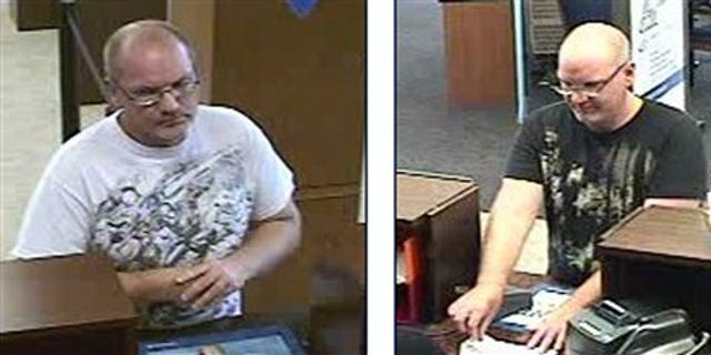 October 15, 2011: These bank surveillance photographs provided by the FBI show the bandit, nicknamed Mr. Magoo.