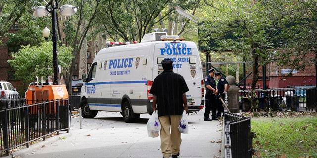 A resident of the Ingersoll Houses walks towards a New York City Police Department crime scene unit, Sunday, Sept. 20, 2015 at the Ingersoll Houses in the Brooklyn borough of New York. Three men were killed at the scene at 2 a.m. Sunday, according to police. (AP Photo/Mark Lennihan)