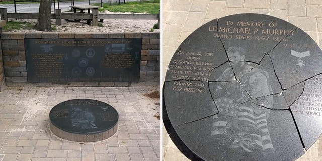 """Suffolk County Police received a call on Thursday that the Lt. Michael P. Murphy Memorial Park in Lake Ronkonkoma had been """"vandalized."""""""
