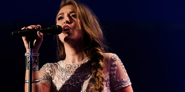 Lauren Daigle performs during the Dove Awards Tuesday, Oct. 13, 2015, in Nashville.