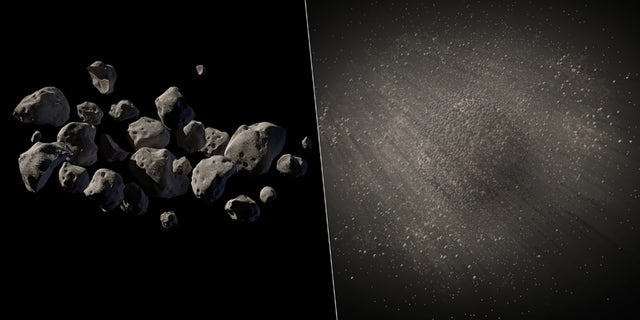This undated handout two-picture combo of artist conceptions provided by NASA/JPL Caltech shows what NASA says are good candidates for a mission to capture an asteroid, haul it to the moon for astronauts to visit.