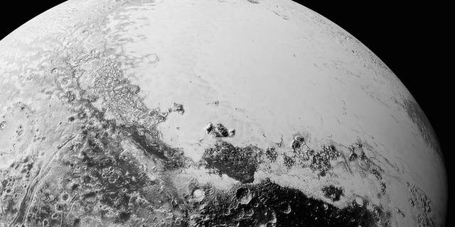 This synthetic perspective view of Pluto, based on the latest high-resolution images to be downlinked from NASA's New Horizons spacecraft, shows what you would see if you were approximately 1,100 miles above Pluto's equatorial area. The images were taken as New Horizons flew past Pluto on July 14, 2015, from a distance of 50,000 miles.