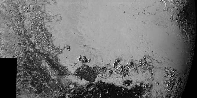 Mosaic of high-resolution images of Pluto, sent back from NASA's New Horizons spacecraft from Sept. 5 to 7, 2015. The image is dominated by the informally-named icy plain Sputnik Planum, the smooth, bright region across the center. The image was taken as New Horizons flew past Pluto on July 14, 2015, from a distance of 50,000 miles.