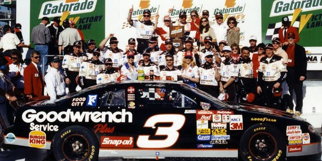 DAYTONA BEACH, FL - FEBRUARY 12, 1998: Dale Earnhardt celebrates his win in one of the twin Gatorade 125 qualifying races for the Daytona 500 NASCAR Cup race at Daytona International Speedway. Three days later, Earnhardt would finally claim a victory in the Daytona 500. (Photo by ISC Images & Archives via Getty Images)