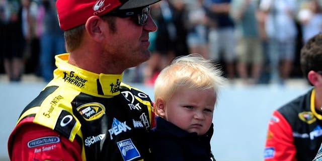 LOUDON, NH - JULY 19: Music artist Blake Shelton and Clint Bowyer, driver of the #15 5-Hour Energy Toyota, talk on pit road prior to the NASCAR Sprint Cup Series 5-Hour ENERGY 301 at New Hampshire Motor Speedway on July 19, 2015 in Loudon, New Hampshire. (Photo by Jeff Curry/Getty Images)