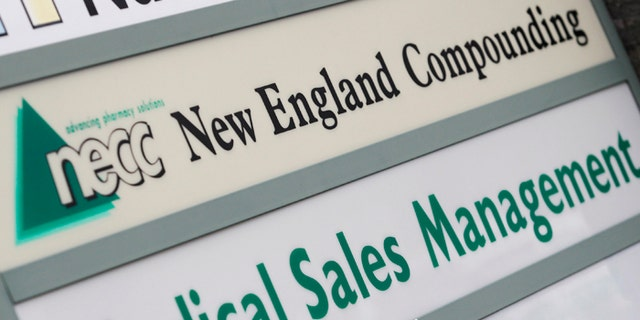 A sign for pharmaceutical compounding company New England Compounding Center (NECC).