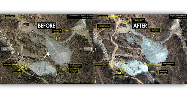 Before and after photos show differences at the Punggye-ri nuclear test site. (Airbus Defense And Space/38 North)