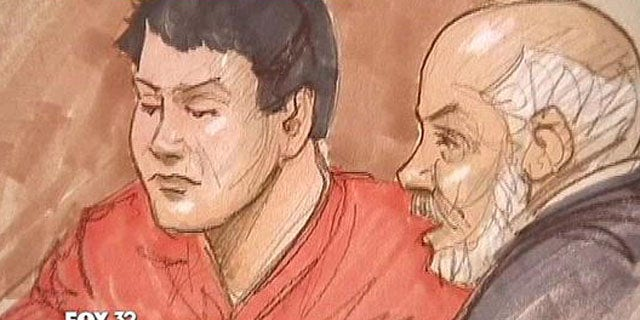 May 6, 2013: Gary Tsai, 36, appears in a Chicago court as depicted in this sketch artist photo.