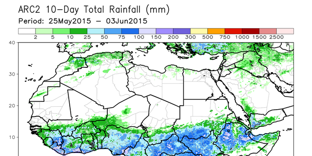 NOAA satellite map shows total rainfall across the Sahel area of Africa between May 25 and June 3 2015.