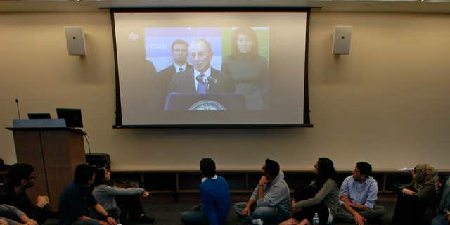 Feb. 24, 2012: Students watch statements by New York City Mayor Michael Bloomberg during a round table discussion at the Islamic Center at New York University.