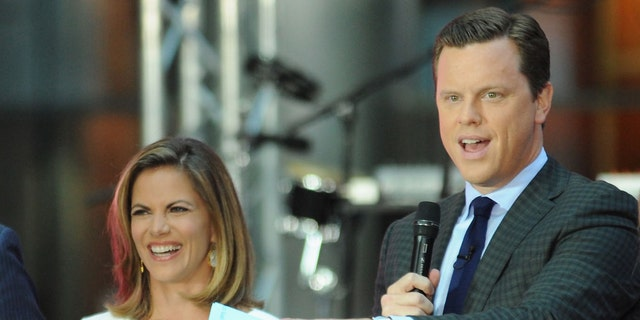 "NEW YORK, NY - SEPTEMBER 01:  (L-R) Carson Daly, Natalie Morales, Willie Geist and Dylan Dreyer speak on stage during NBC's ""Today"" at the NBC's TODAY Show on September 1, 2014 in New York, New York.  (Photo by Andrew Toth/Getty Images)"