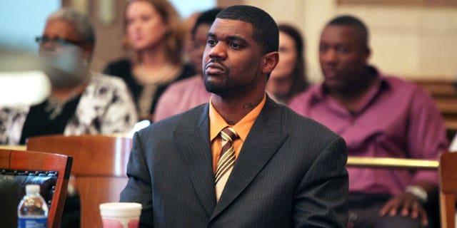 April 24, 2012: Former Cincinnati Bengals NFL football linebacker Nate Webster, appears in court for closing arguments in his trial in Cincinnati.