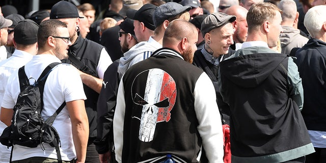 Far-Right extremists gather to commemorate the 30th anniversary of the death of Adolf Hitler's deputy, Rudolf Hess, in Berlin, August 2017