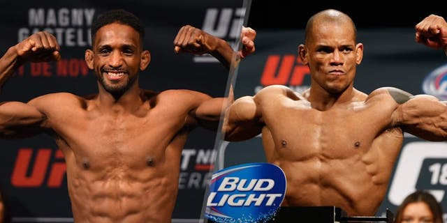MONTERREY, MEXICO - NOVEMBER 20: Neil Magny of the United States weighs in during the UFC weigh-in at the Arena Monterrey on November 20, 2015 in Monterrey, Mexico. (Photo by Jeff Bottari/Zuffa LLC/Zuffa LLC via Getty Images) LAS VEGAS, NV - JANUARY 02: Hector Lombard of Cuba poses on the scale after weighing in during the UFC 182 weigh-in event at the MGM Grand Conference Center on January 2, 2015 in Las Vegas, Nevada. (Photo by Josh Hedges/Zuffa LLC/Zuffa LLC via Getty Images)