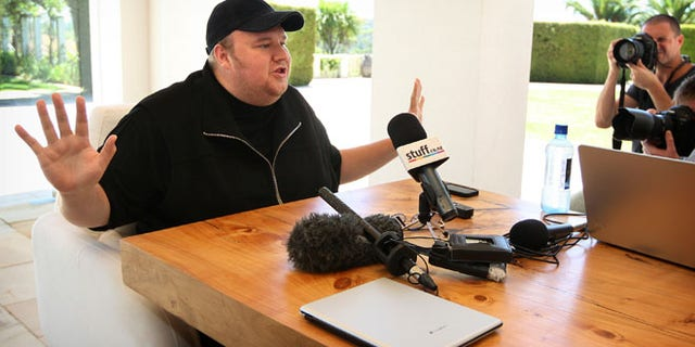 """Jan. 20, 2013: Indicted Megaupload founder Kim Dotcom holds a press conference ahead of the launch of a new file-sharing website called """"Mega"""" at his Coatesville mansion in Auckland, New Zealand."""