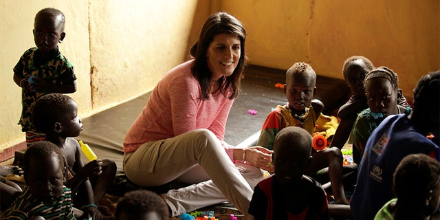 U.S. Ambassador to the United Nations Nikki Haley meets South Sudanese refugee children at the Nguenyyiel refugee camp in Gambella Region, Ethiopia October 24, 2017.