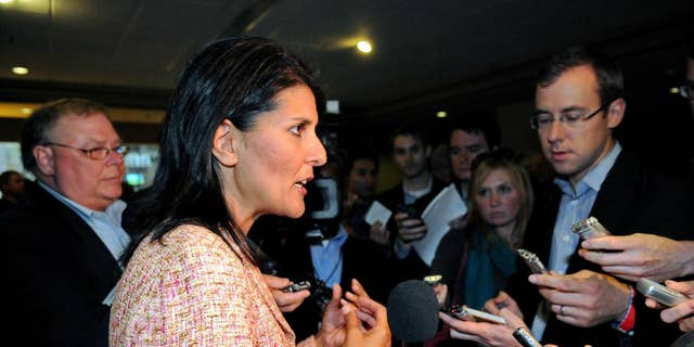 South Carolina Gov. Nikki Haley (R) speaks to reporters in this file photo.