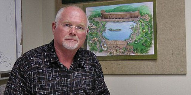 Mike Zovath, co-founder of Answers in Genesis ministries, poses for photos at the Ark Encounter headquarters.