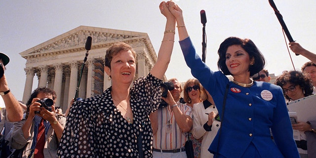 Norma McCorvey (left) was at the center of Roe v. Wade. She had sued as she wanted to get an abortion in Texas where it was only legal in the cases where the mother's life was in danger. Decades later, McCorvey said she regretted her role in the landmark case and became a staunch anti-abortion activist.