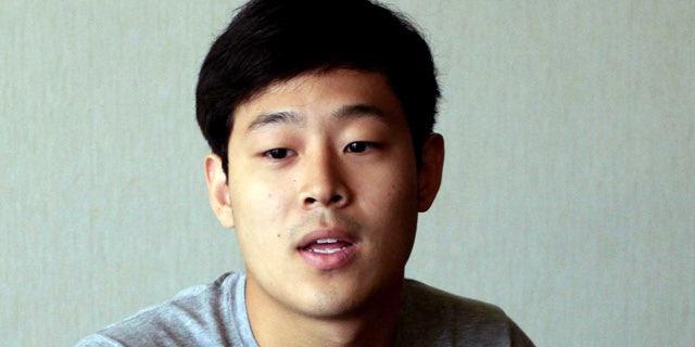 FILE - In this Tuesday, July 14, 2015, file photo, Joo Won-moon, a South Korean student at New York University, is interviewed at the Koryo Hotel in Pyongyang, North Korea. (AP Photo/Kim Kwang Hyon, File)