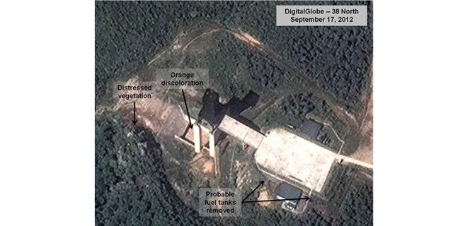 Sept. 17, 2012: Satellite image provided by DigitalGlobe shows a facility in Sohae, North Korea, where analysts believe rocket engines have been tested.