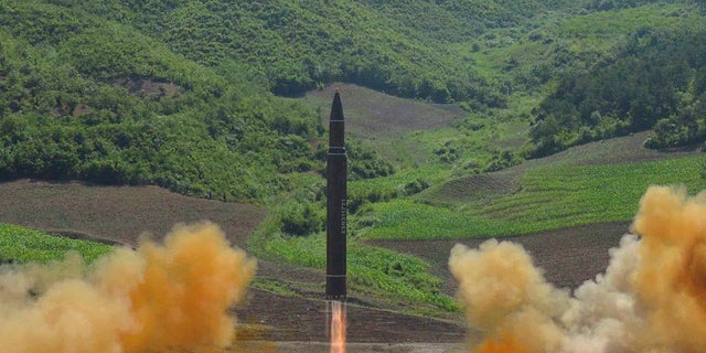 North Korea's launch of a Hwasong-14 intercontinental ballistic missile, ICBM, in North Korea's northwest, Tuesday, July 4, 2017.