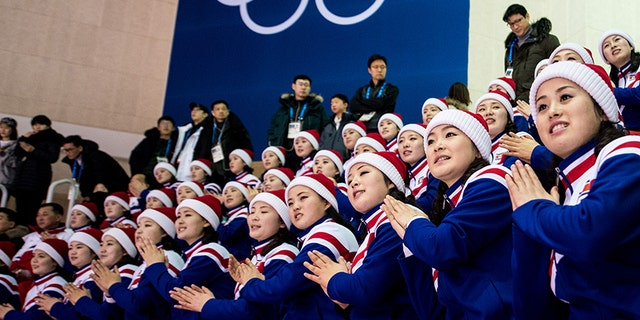 North Korean cheerleaders, pictured here at the 2018 Olympic Games, are reportedly handpicked by Kim Jong Un and North Korean officials.