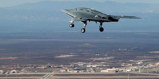 The very autonomous X-47B in flight.